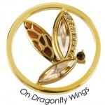 Quoins Damen Anhänger On Dragonfly Wings Münze L Gelb-orange