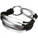 Joop JPBR10310A195 Damen Armband Stahl Costruction Leder schwarz 19, 5 cm