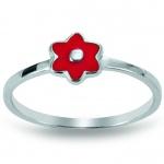 Basic Silber 53.KS110 Mädchen Ring Blume Silber 48 (15.3) rot