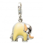 Basic Silber 22.VX159 Damen Charms Elefant Silber orange gelb