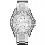Fossil ES3202 RILEY Uhr Damenuhr Edelstahl 100m Analog Datum Zirkonia