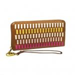 Fossil Geldbörse Emma RFID Large Zip Pink Braun Multi Damen Börse