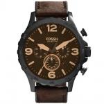 Fossil JR1487 NATE Chronograph Uhr Herrenuhr Lederarmband braun