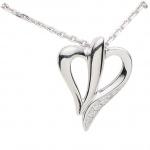 Basic Silber 21.EX703 Damen Collier Herz Silber Zirkonia weiß 42 cm