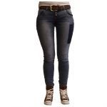 Damen Jeans Hose 5 Pocket Sublevel Skinny Slim Fit Blau Gr. L