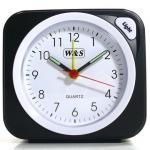 W&S 030409 Wecker Uhr schwarz-weiß Analog Licht Alarm