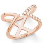 s.Oliver 2018605 Damen Ring Sterling-Silber 925 Rose Weiß 56 (17.8)