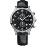 Hugo Boss 1512448 Herrenuhr Lederband 50m Datum Chronograph schwarz