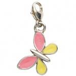 Basic Silber 22.VX443 Damen Charms Schmetterling Silber rosa gelb