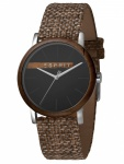 Esprit ES1G030L0045 Plywood Black Grey Canvas-G Damenuhr Lederarmband