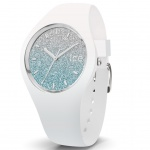 Ice-Watch 013429 Ice-Lo White blue medium Uhr Damenuhr Silikon Weiß