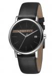 Esprit ES1G047L0035 Timber Grey Black Herrenuhr Lederarmband Datum