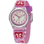 JACQUES FAREL HCC3132 Uhr Mädchen Kinderuhr Stoffband rosa