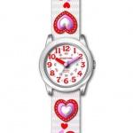 JACQUES FAREL HCC3136 Herzchen Uhr Mädchen Kinderuhr Textil mehrfarbig