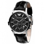 Emporio Armani AR2447 Herrenuhr Lederband Datum Chronograph schwarz