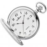 DUGENA 4460636 Taschenuhr Savonette mit Kette Uhr Datum weiss