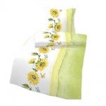 IDO Renforcé Bettwäsche 2tlg. Grün Sonnenblumen Bettbezug 135x200 cm