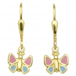 Basic Gold KI65 Mädchen Ohrringe Schmetterling 14 Karat (585) Gelbgold