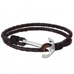 XENOX X4503 Herren Armband Anker XENOX men Silber Braun 22 cm