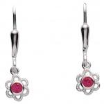 Basic Silber 02.KS135R Mädchen Ohrringe Blume Silber Zirkonia pink