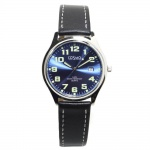Cosmo 02063RLB-blau Uhr Herrenuhr Lederarmband Datum schwarz