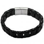 GOOIX 414-05758 Herren Armband Edelstahl Silber Schwarz 21 cm