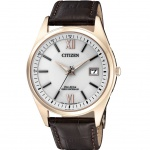 Citizen AS2053-11A Radio Controlled Eco-Drive Leder Uhr Datum Braun