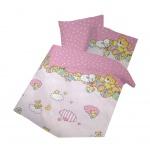 IDO Renforcé Bettwäsche 2tlg. Rosa Bären Bettbezug Kinder 100x135 cm