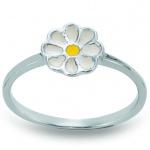 Basic Silber 53.KS109 Mädchen Ring Blume Silber 48 (15.3) gelb weiß