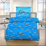 IDO Fein Biber Bettwäsche 2tlg. Blau-Delfine 135x200 cm