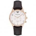 Emporio Armani AR1916 Chronograph Uhr Herrenuhr Leder Datum Braun