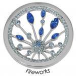 Quoins Damen Münze Fireworks Edelstahl Zirkonia blau