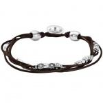 Fossil JA5798040 Damen Armband Leder braun Glasstein weiß 20 cm