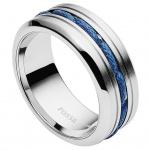 Fossil JF02680040515 Herren Ring Edelstahl Silber Blau 66 (21.0)