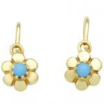 Basic Gold KI60 Mädchen Ohrringe Blume 14 Karat (585) Gelbgold Türkis