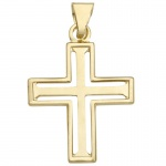 Basic Gold K07 Kinder Anhänger Kreuz 14 Karat (585) Gelbgold