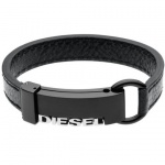 Diesel DX0002 Herren Armband DX 0002 Leder schwarz 18, 5cm