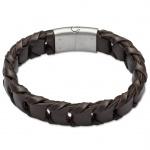GOOIX 414-05759 Herren Armband Edelstahl Silber Braun 21 cm
