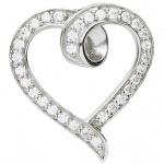 Basic Silber 21.0015S Damen Anhänger Herz Silber Zirkonia weiß