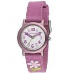JACQUES FAREL ORG1111 Öko - Kinderuhr Blume Uhr Mädchen Stoffband rosa