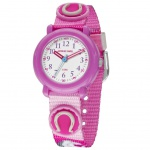 JACQUES FAREL KPA1011 Pferd Uhr Mädchen Kinderuhr Stoffband rosa