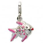 Basic Silber 22.VX153 Damen Charms Fisch Silber rot lila rosa