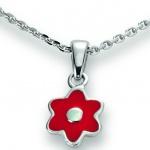 Basic Silber 21.KS110 Mädchen Collier Blume Silber 36 cm rot