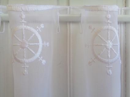 Scheibengardine Maritim Steuerrad weiß 30 cm 45 oder 60 cm Hoch ab 1 Meter
