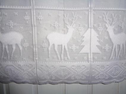 Scheibengardine Weihnachten Weiß Hirsch 50 cm hoch ab 1 Meter
