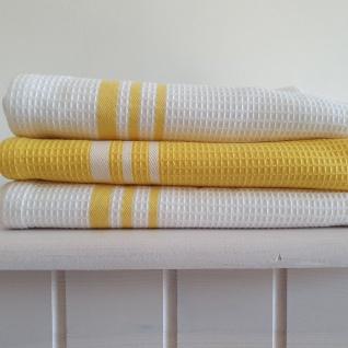 Geschirrtuch Waffelpikee Baumwolle 3 er Set 50x70 Gelb Weiß