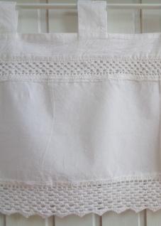 Scheibengardine Landhaus Weiß Shabby Chic Häkelspitze Großmutterstyle H45/B90, H45 /B120 oder H45/B150