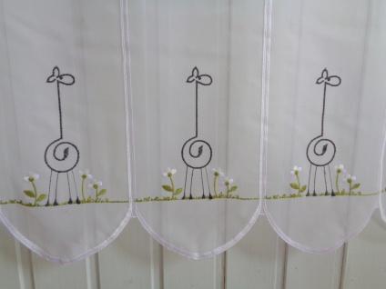 Scheibengardine Weiss Schwarz Grün Kindermotiv Giraffe 45 cm Höhe/ Br. ab 1 Meter