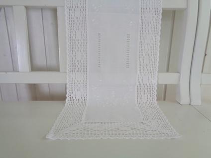 Tischläufer weiß Landhaus Shabby Chic Häkelspitze 40x140