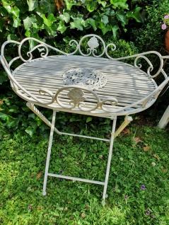 Tisch Beistelltisch Gartentisch Dekotisch Eisen Vintage Weiß H 70 x T 48 x B 63 cm